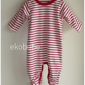 Organic Cotton Striped Overall Newborn - Red